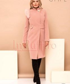 Palton dama Pretty Girl roz prafuit cu accesoriu detasabil pe umar din blana ecologica