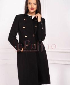 Palton de dama Moze negru din stofa cu guler tip tunica si nasturi aurii