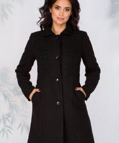Palton Moze negru cu blanita la bust