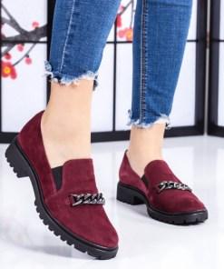 Pantofi dama piele naturala visinii casual Xiloponi -rl