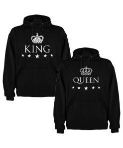 Set 2 Hanorace cuplu King si Queen, negru/alb