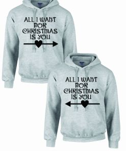 Set 2 Hanorace cuplu PinkPrint, model All I want for Christmas, gri