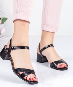 Sandale Supreli negre cu toc -rl