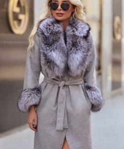 Palton dama gri din lana de alpaca cu guler din blana naturala de vulpe argintie Natasha