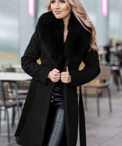Palton dama negru scurt cambrat cu guler din blana naturala de vulpe Darcy