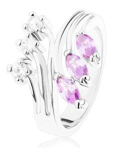 Inel argintiu, brațe ramificate, zirconii mov și transparente - Marime inel: 53
