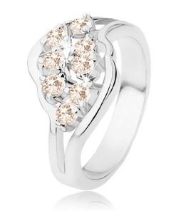 Inel argintiu, brațe ramificate, zirconii portocaliu deschis - Marime inel: 52