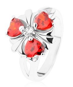 Inel argintiu, floare cu inimi din zirconii portocalii - Marime inel: 52