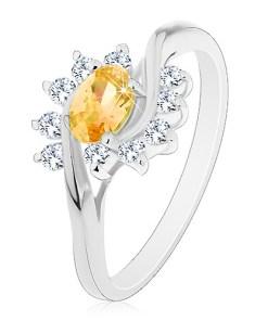 Inel argintiu, zirconiu oval de culoare galbenă, arce transparente - Marime inel: 56
