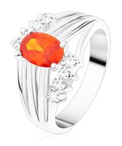 Inel argintiu, zirconiu oval portocaliu, benzi lucioase, zirconii transparente
