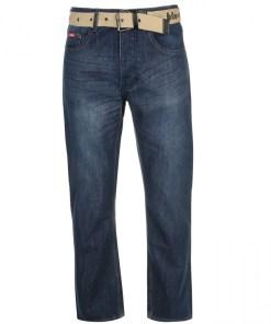 Blugi drepti Lee Cooper Belted Jeans Mens