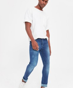 Blugi skinny fit Trendyol Indigo Male Rake Wear-Off Skinny Jeans