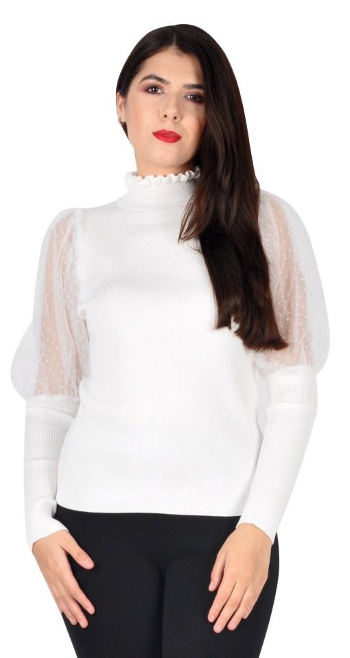 Pulover dama alb cu maneca organza C2019 A