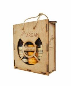 Set cadou rustic cutie lemn (Sampon cu ulei de argan Argana 400ml + Gel de dus cu ulei de argan Argana 400ml + Sapun lichid Arganine 400ml)