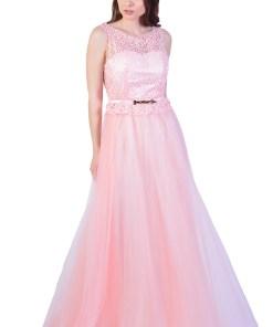 Rochie de ocazie roz lunga cu tull si broderie piept 8199 R