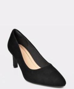 Pantofi CLARKS negri, Calla Rose, din piele intoarsa