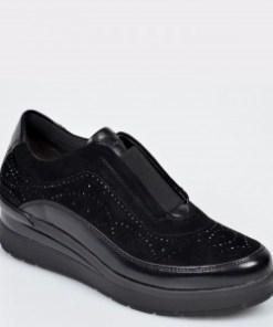 Pantofi STONEFLY negri, Cream17, din piele intoarsa