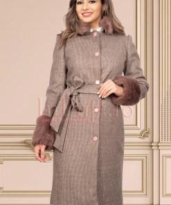 Palton bej matlasat din stofa pepit cu blana si cordon