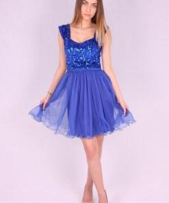 Rochie albastra baby doll cu paiete