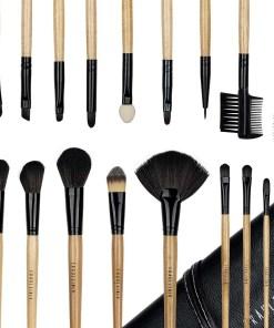 Set 18 pensule profesionale machiaj Fraulein38 Natural Wood + Borseta Cadou