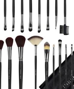 Set 20 pensule machiaj profesionale Fraulein38 - Black Design + Borseta Cadou
