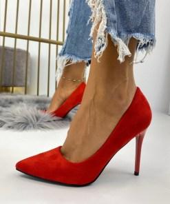 Pantofi Stiletto Dama Piele Ecologica Intoarsa Rosii Carmina B6716