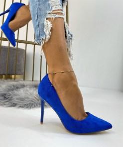 Pantofi Stiletto Dama Piele Ecologica Intoarsa Albastri Carmina B6718
