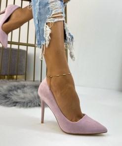 Pantofi Stiletto Dama Piele Ecologica Intoarsa Roz Carmina B6719
