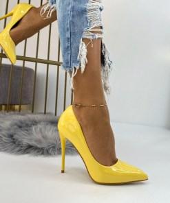 Pantofi Stiletto Dama Piele Ecologica Galbeni Cora B6723