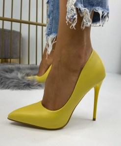 Pantofi Stiletto Dama Piele Ecologica Galbeni Camea B6731