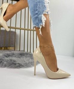 Pantofi Stiletto Dama Piele Ecologica Bej Dora B6737
