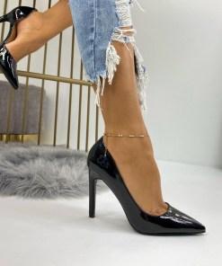 Pantofi Stiletto Dama Piele Ecologica Negri Dina B6740