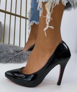 Pantofi Stiletto Dama Piele Ecologica Lacuita Negri Marga B6893