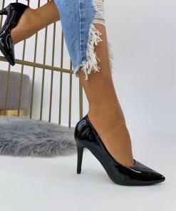 Pantofi Stiletto Dama Piele Ecologica Lacuita Negri Arana3 B6902