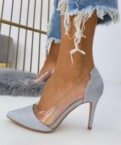 Pantofi Stiletto Dama Glitter Argintii C-Thru B6905