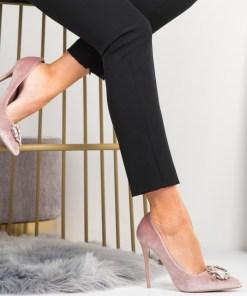 Pantofi Stiletto Dama Piele Ecologica Intoarsa Roz Stella B6943