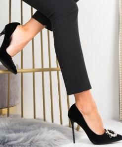 Pantofi Stiletto Dama Piele Ecologica Intoarsa Negre Stella B6945