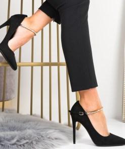 Pantofi Stiletto Dama Piele Ecologica Intoarsa Negre Grace B6946