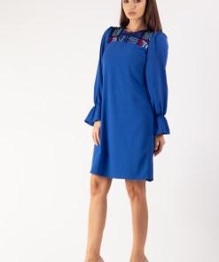 Rochie sac in combinatie cu dantela albastru royal 36