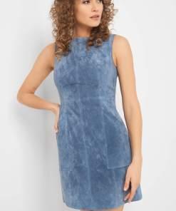 Rochie mini de piele întoarsă Albastru