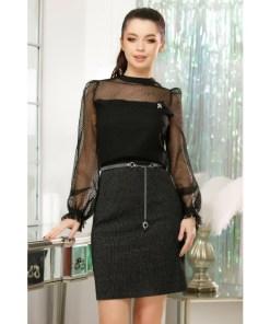 Rochie Emerson neagra cu fusta din tricot cu insertii argintii si bluza din tull cu buline de catifea