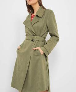 Palton tip piele întoarsă eco Verde