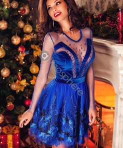 Rochie baby-doll catifea albastra si broderie Rn 519