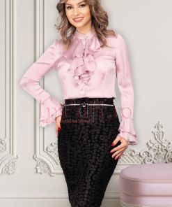 Camasa MBG roz din satin cu jabou