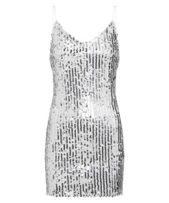 Missguided Rochie de cocktail 'Strappy Sequin Mini Bodycon' argintiu