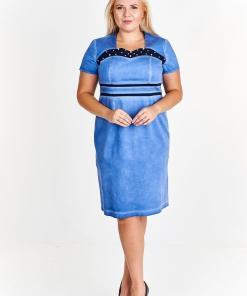 Rochie moderna, de culoare albastra, cu insertii contrastante