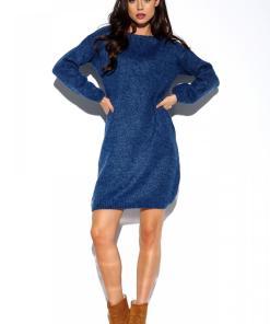 Rochie tricotata, model maxi in nuanta de albastru