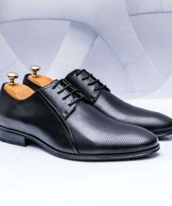 Pantofi eleganti Piele barbati negri Satiosi-rl