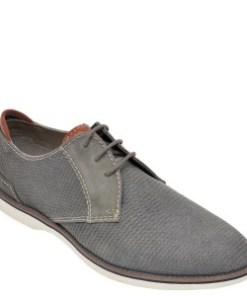 Pantofi BUGATTI gri, 67102, din material textil si nabuc