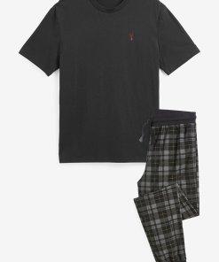 Pijama cu model in carouri si maneci scurte